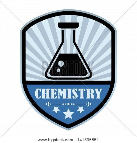 Chemistry retro label isolated on white background
