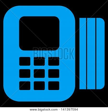Card Processor vector icon. Style is flat symbol, blue color, rounded angles, black background.