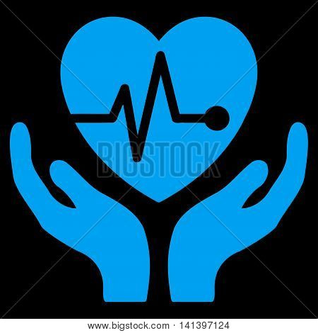 Cardiology vector icon. Style is flat symbol, blue color, rounded angles, black background.