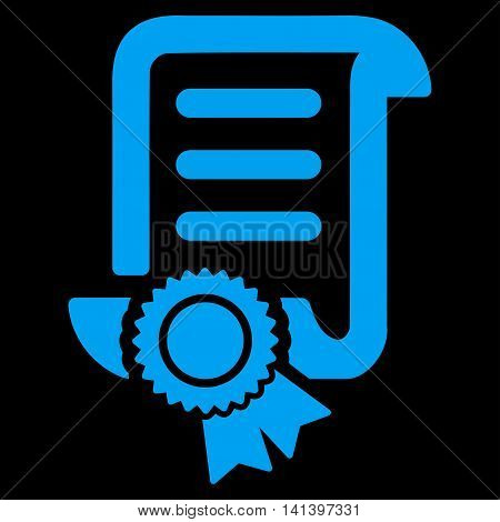 Certified Scroll Document vector icon. Style is flat symbol, blue color, rounded angles, black background.