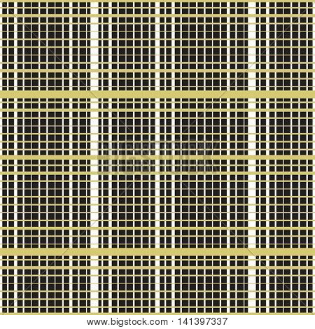 Intersecting perpendicular lined seamless pattern. Repeating mesh texture with crossing lines on dark background. Grid checkered vector illustration.