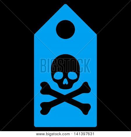 Death Mark vector icon. Style is flat symbol, blue color, rounded angles, black background.