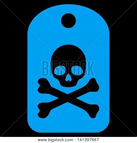 Death Sticker vector icon. Style is flat symbol, blue color, rounded angles, black background.