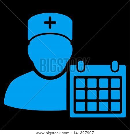 Doctor Appointment vector icon. Style is flat symbol, blue color, rounded angles, black background.