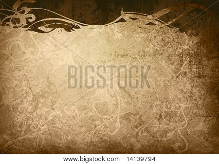 floral style old paper textures frame