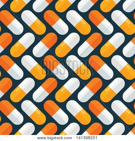 Medical pills seamless pattern. Stylized medication tablets texture. Pharmacology continuous wrapping background. Health care vector illustration in EPS8 format.