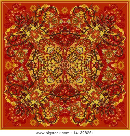 authentic silk neck scarf or kerchief square pattern design in eastern style for print on fabric, vector illustration. Bright yellow red fantasy flower on dark orange background.