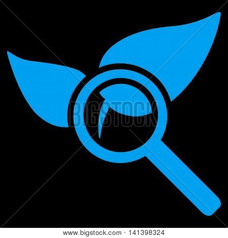 Explore Natural Drugs vector icon. Style is flat symbol, blue color, rounded angles, black background.