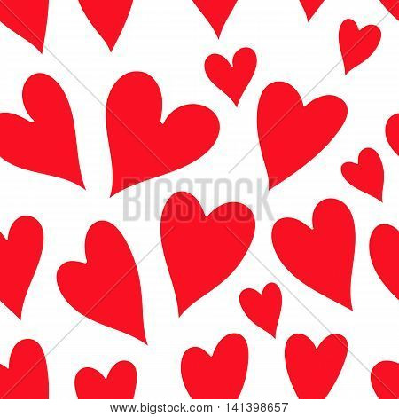 Vector Valentines Day Pattern With Red  Hearts