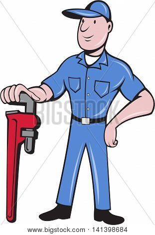 Illustration of a plumber pipe worker standing leaning on pipe wrench with other hand on hips viewed from front set on isolated white background done in cartoon style. background.