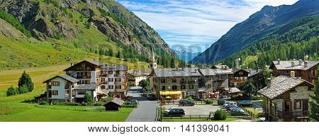 panorama of Alpine town Rhemes Notre Dame Valle d'Aosta Italy