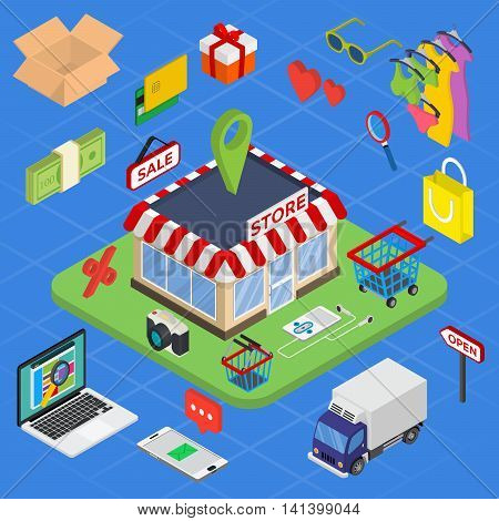 Flat 3d web isometric e-commerce, electronic business, online shopping, payment, delivery, shipping process, sales, black friday infographic concept vector.
