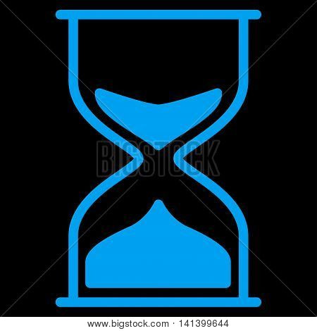 Hourglass vector icon. Style is flat symbol, blue color, rounded angles, black background.