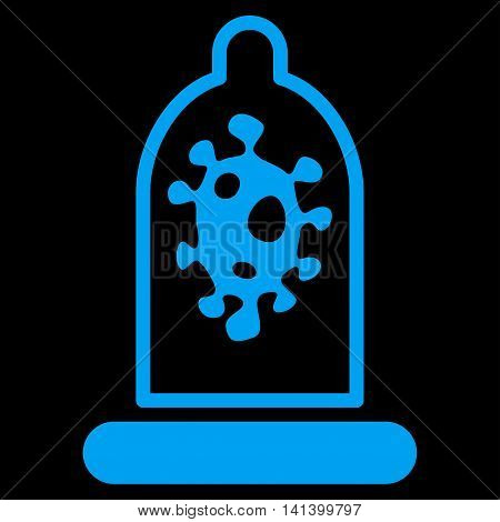 Infection Protection vector icon. Style is flat symbol, blue color, rounded angles, black background.