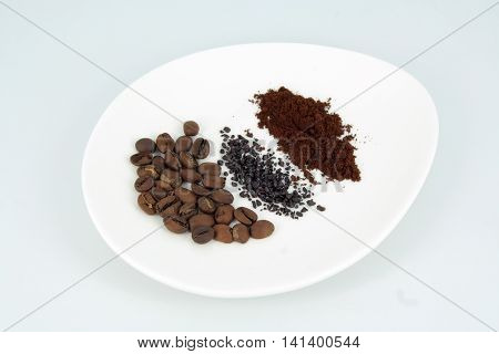 Various blends of coffee. Different types of coffee.