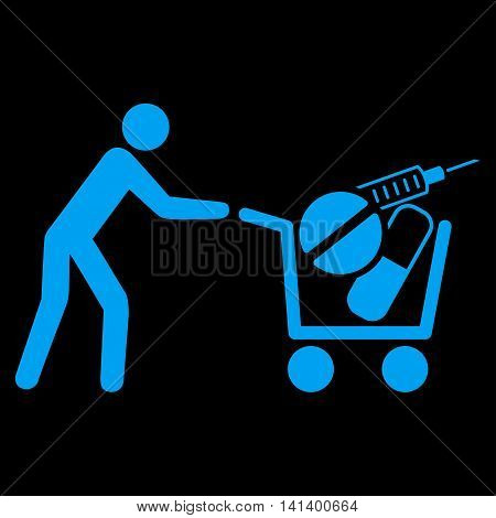 Medical Shopping vector icon. Style is flat symbol, blue color, rounded angles, black background.