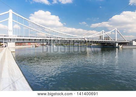 Krymsky Bridge and Moskva river in Moscow Russia