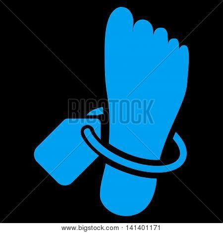 Mortuary Tag vector icon. Style is flat symbol, blue color, rounded angles, black background.