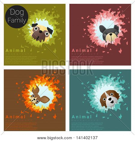 Cute animal family background with Dogs, vector , illustration