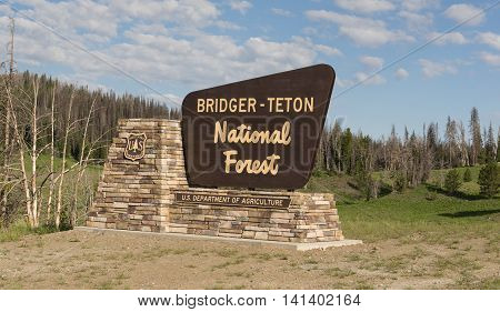 Sign marking the boundary of the Bridger Teton National Forest