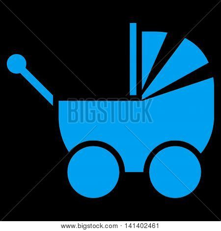 Pram vector icon. Style is flat symbol, blue color, rounded angles, black background.