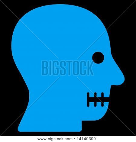 Sewn Mouth vector icon. Style is flat symbol, blue color, rounded angles, black background.