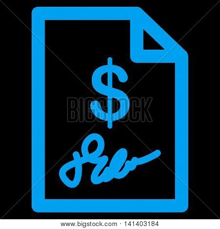 Signed Invoice vector icon. Style is flat symbol, blue color, rounded angles, black background.