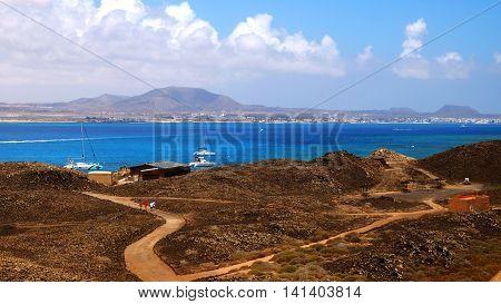 View on Fuerteventura from the island Lobos.