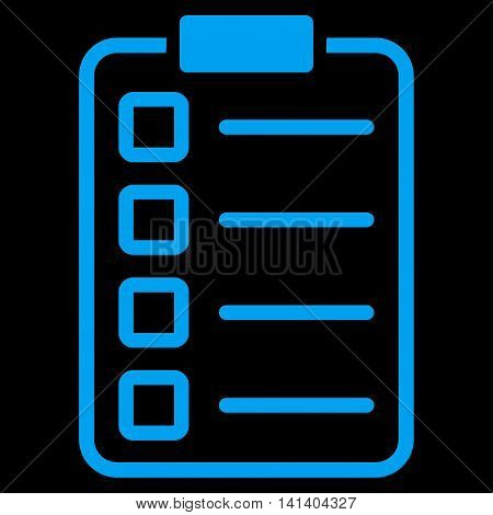 Test Form vector icon. Style is flat symbol, blue color, rounded angles, black background.