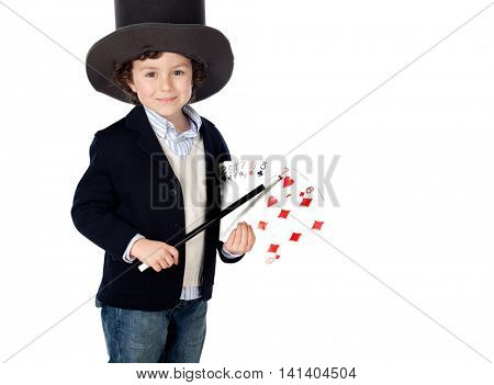Adorable child dress of illusionist with hat a over white background