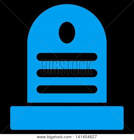 Tombstone vector icon. Style is flat symbol, blue color, rounded angles, black background.