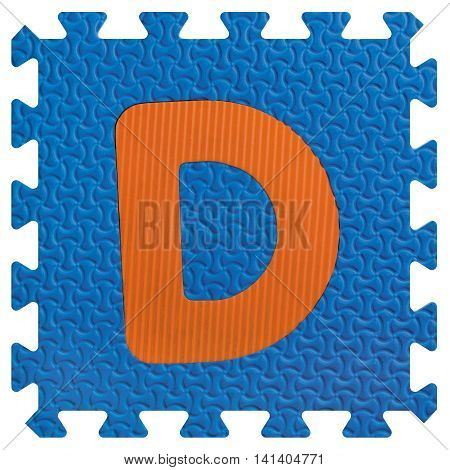Part of the puzzle letter D on white background