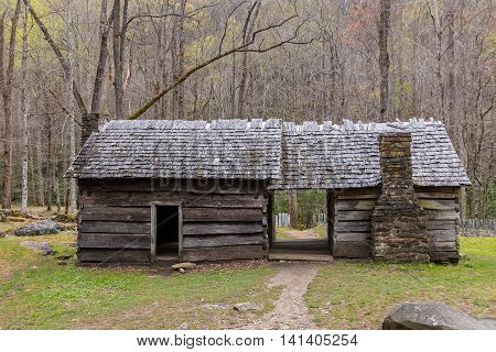 Old historic log cabins located in the Great Smoky Mountains National Park Tennessee USA