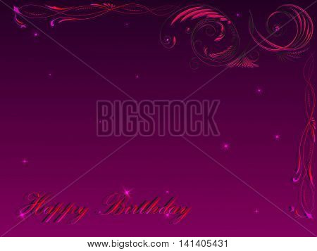 Card with a congratulation happy birthday with a floral ornament in the upper right corner in pink tones