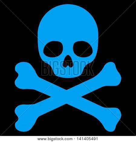 Death vector icon. Style is flat symbol, blue color, rounded angles, black background.