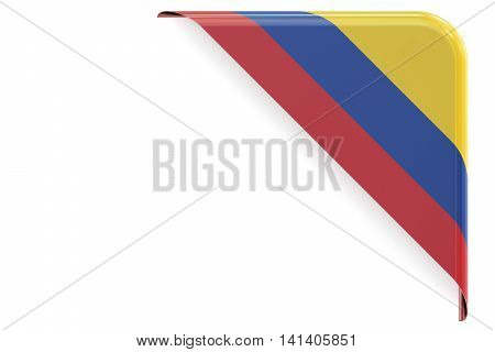 Colombian flag corner button label. 3D rendering isolated on white background