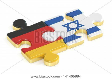 Germany and Israel puzzles from flags 3D rendering isolated on white background