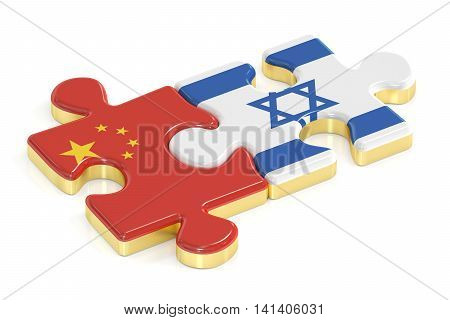 Israel and China puzzles from flags 3D rendering isolated on white background