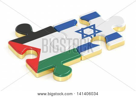 Israel and Palestine puzzles from flags 3D rendering isolated on white background
