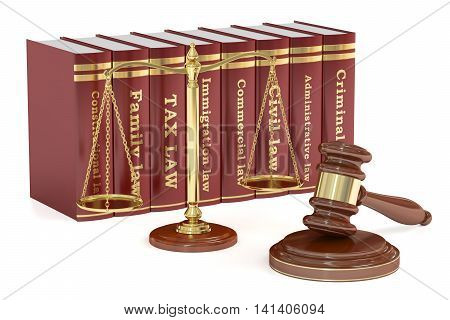 Wooden gavel low books and golden scales of justice. Justice concept 3D rendering isolated on white background