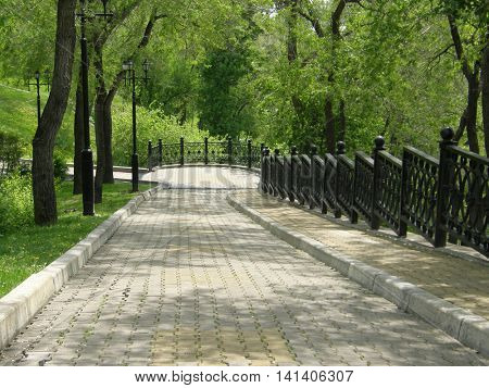 The path in the park near the Amur River. Khabarovsk. Far East. Russia