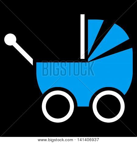 Baby Carriage vector icon. Style is bicolor flat symbol, blue and white colors, rounded angles, black background.
