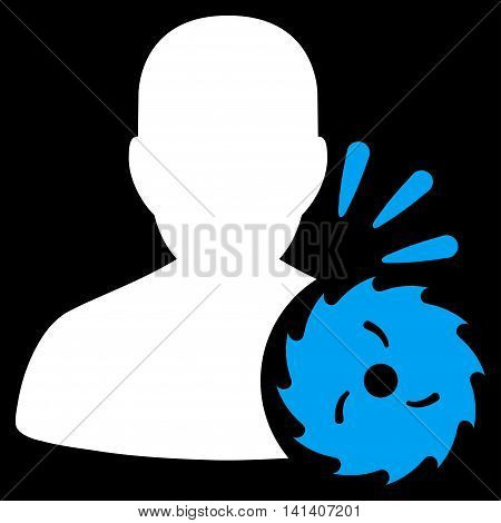 Body Execution vector icon. Style is bicolor flat symbol, blue and white colors, rounded angles, black background.