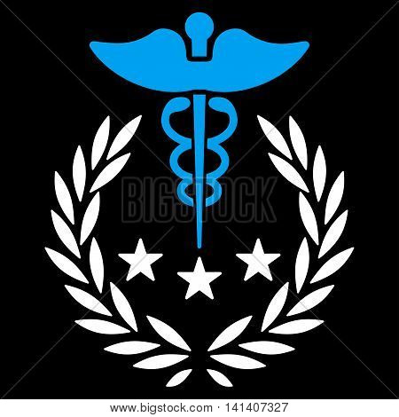 Caduceus Logo vector icon. Style is bicolor flat symbol, blue and white colors, rounded angles, black background.