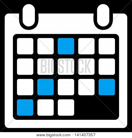 Calendar Appointment vector icon. Style is bicolor flat symbol, blue and white colors, rounded angles, black background.