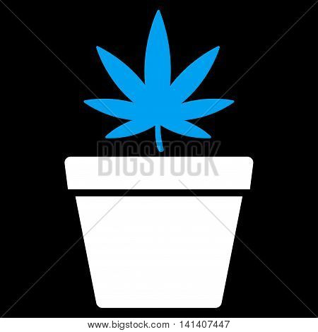 Cannabis Pot vector icon. Style is bicolor flat symbol, blue and white colors, rounded angles, black background.