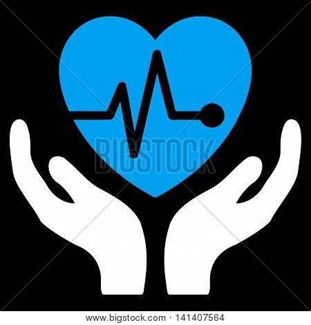 Cardiology vector icon. Style is bicolor flat symbol, blue and white colors, rounded angles, black background.