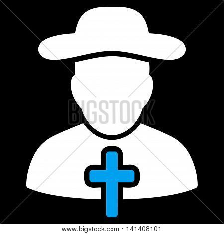 Cleric vector icon. Style is bicolor flat symbol, blue and white colors, rounded angles, black background.