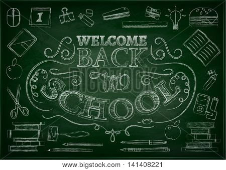 Welcome back to school background with stationery and books, vector illustration. Sale backdrop. White chalk lettering on green blackboard.