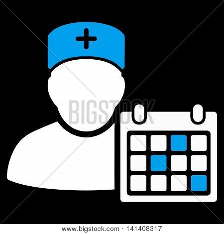 Doctor Appointment vector icon. Style is bicolor flat symbol, blue and white colors, rounded angles, black background.